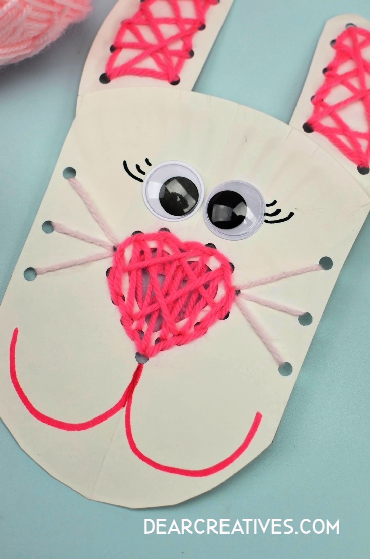 Paper Plate Bunny Lacing
