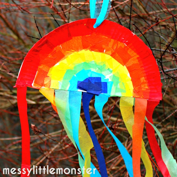 tissue paper plate rainbow