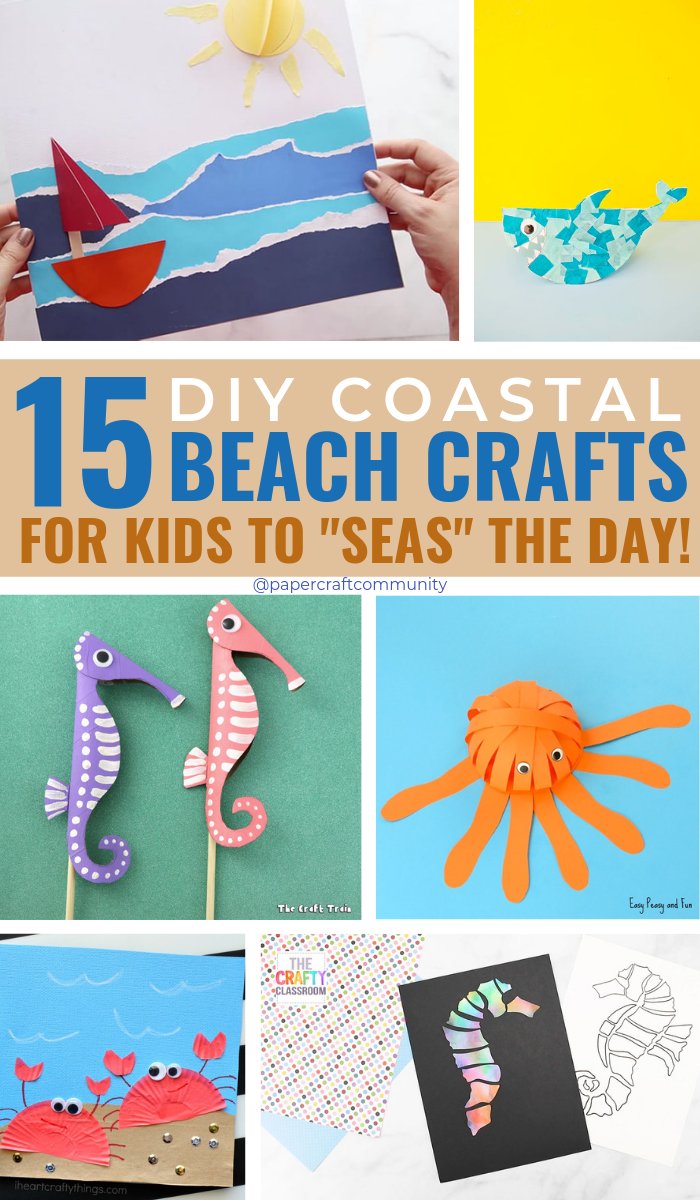 15 DIY Coastal Beach Crafts For Kids To Make For Summer #artsandcrafts #kidscraft #kidscrafts #kidsactivities #beachcrafts #beachart