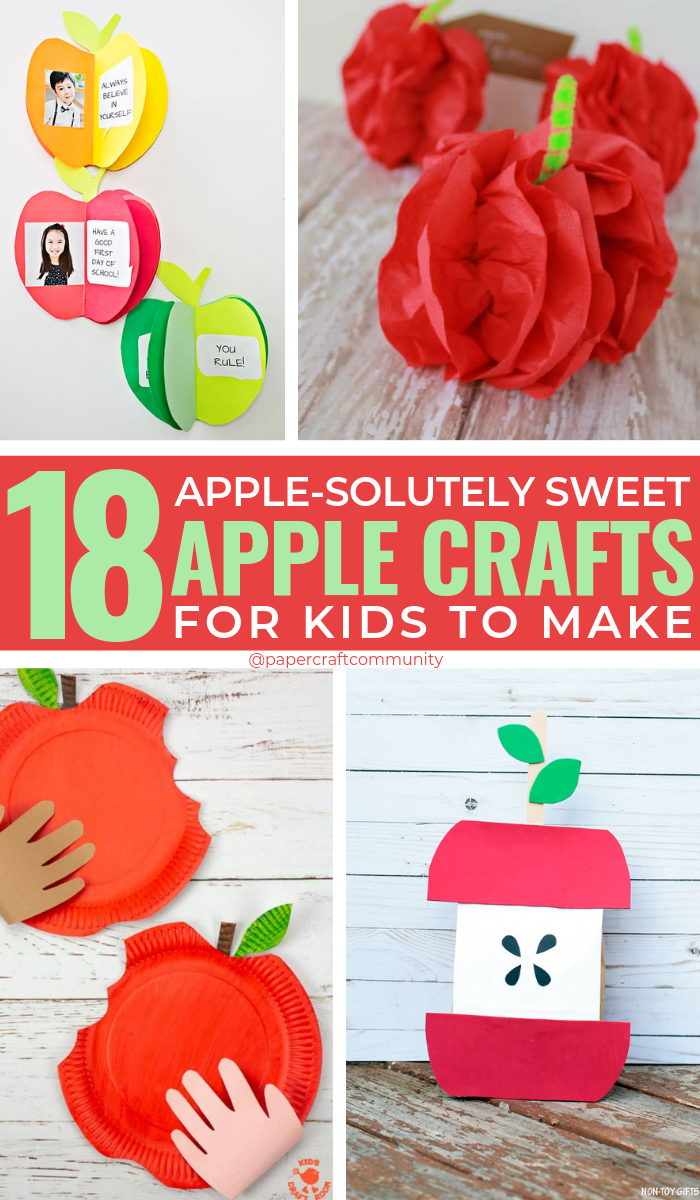 18 Apple-solutely Sweet Apple Crafts For Kids To Make, Apple templates and art, #kidscrafts #kidscraft #applecrafts #appleart #apple